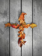 cross made of fall leaves