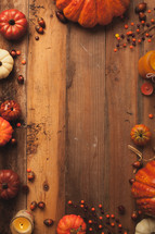 fall, pumpkin border, candle