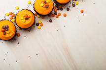 fall cupcakes on a white background