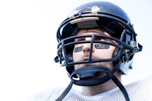 face of a football player in a helmet