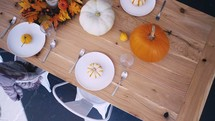 fall dinner party table set up