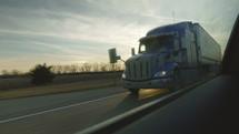 big rig on a freeway