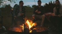 conversations around a fire pit