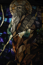 Stained glass window of Moses