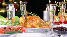 Christmas turkey dinner on a set table