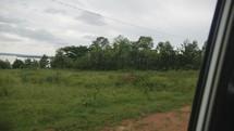 driving through an African village