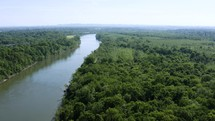 aerial view over the Cumberland river