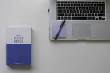 pen, post-it note, Bible, cover, laptop, desk, workspace