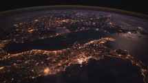 view of the Earth at night from space