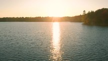 island and lake view at sunset