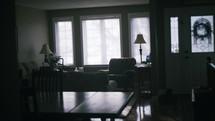 family room and rain on window