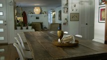 home interior with dining room table and living room