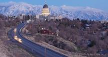 road heading towards Utah capitol building