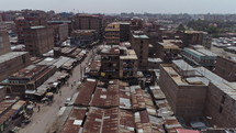 aerial view over rusty rooftops
