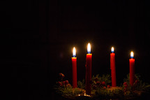 flames on an advent wreath