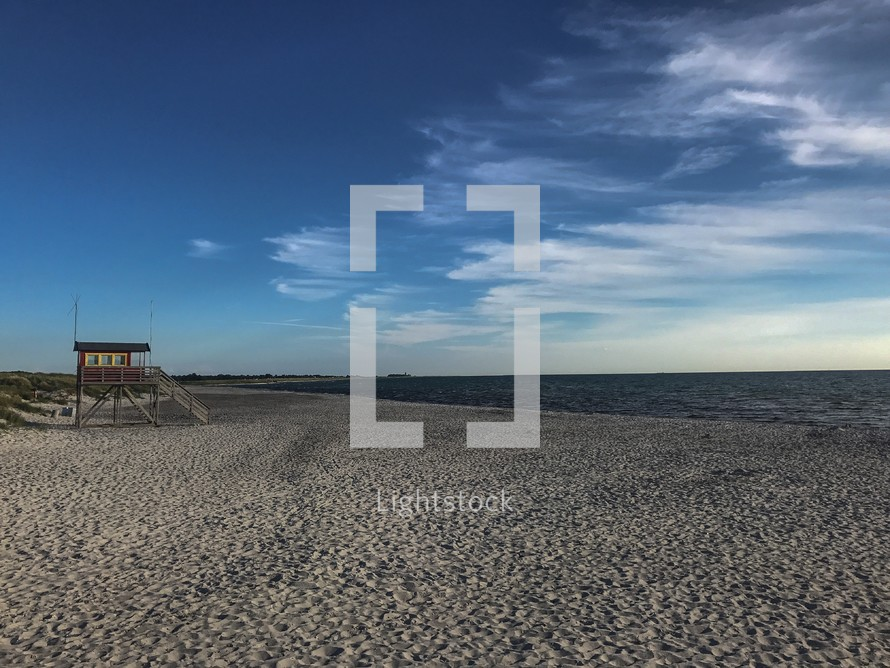 lifeguard stand on a sandy beach in Falsterbo, Sweden