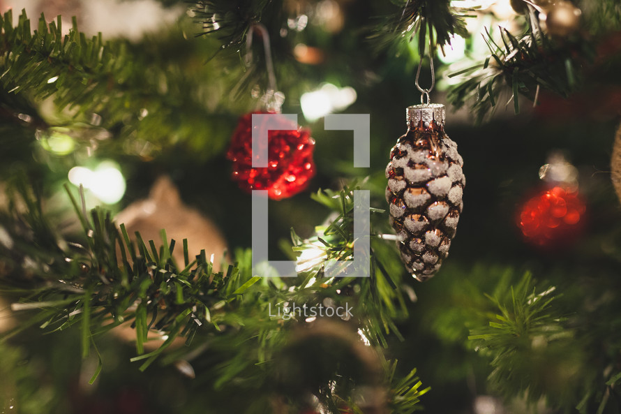 ornaments on a Christmas tree background