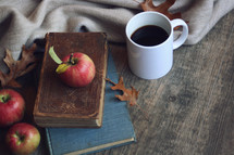 apples on vintage books