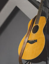Worship leader acoustic guitar stock photo