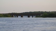 birds flying over a bridge