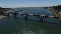 aerial over Gold Beach Bridge