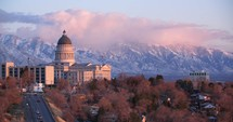 Utah capitol building at sunset