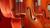 a rack of cellos