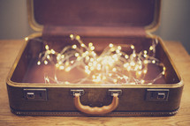 glowing string of lights in a case