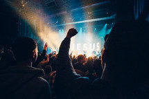 audience worshiping and praising at a concert