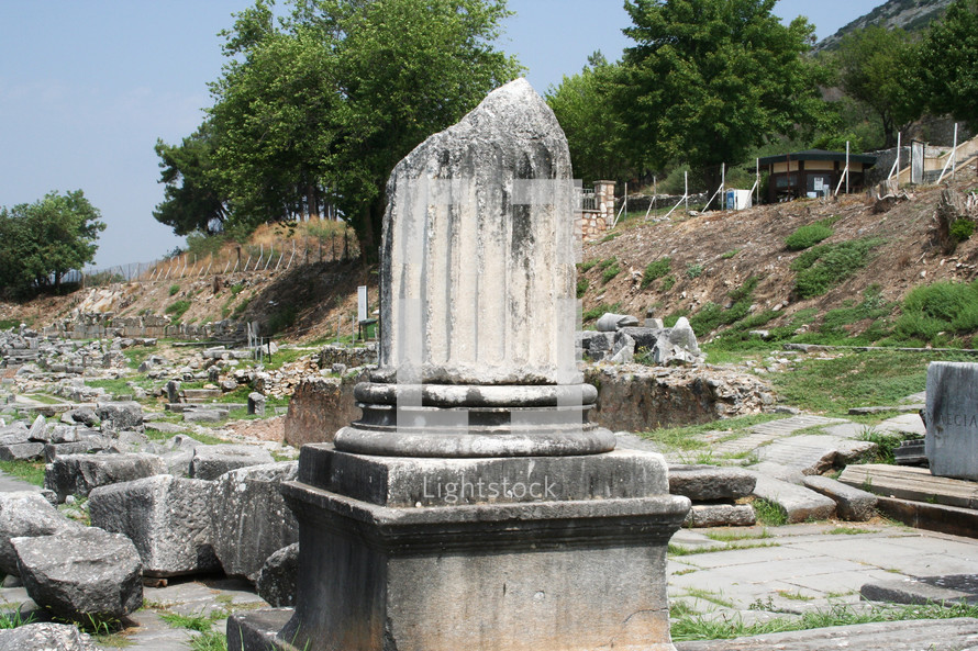 Corinthian column. Remains from historic Philippi that would have been visited by the Apostle Paul, Silas, Lydia and early Christians from Acts 16. These remains are near the Agora of Philippi.