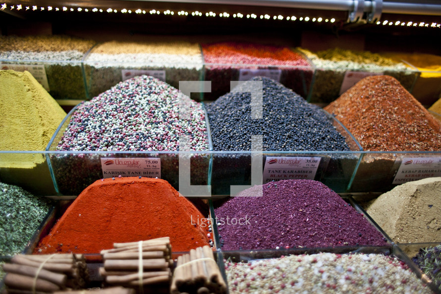 A market full of spices and seasonings