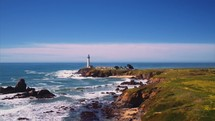 a lighthouse and coastline