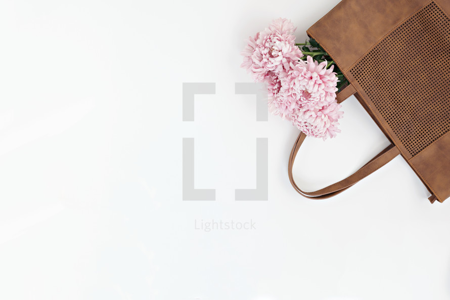 pink flowers in a bag