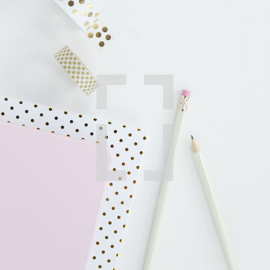 polka dot, gold, white, pink, notebooks, pencil, stationary, and tape