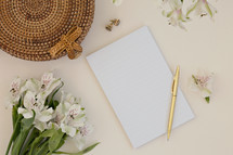 flower and blank white paper
