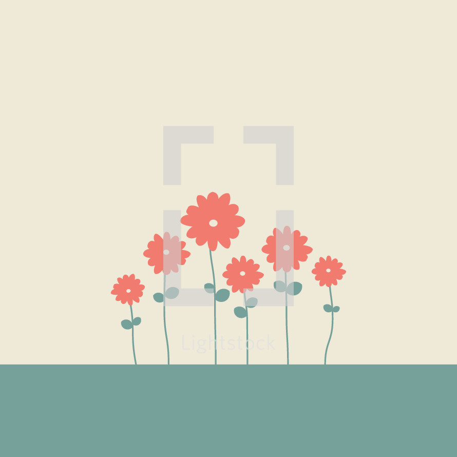 Row of pretty hand drawn flowers vector by prixel creative row of pretty hand drawn flowers mightylinksfo