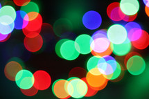 bokeh multi colored Christmas lights