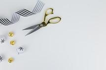 scissors, bells, and ribbons