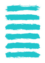 The teal turquoise paint brush stroke is drawn by hand. Paintbrush drawing on canvas. Hand-drawn brushstroke blue green texture on paper. Rectangle shape. The graphic element saved as a vector illustration in the EPS file format for used in your design projects.