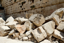 Fallen stones from the Temple Mount destruction.