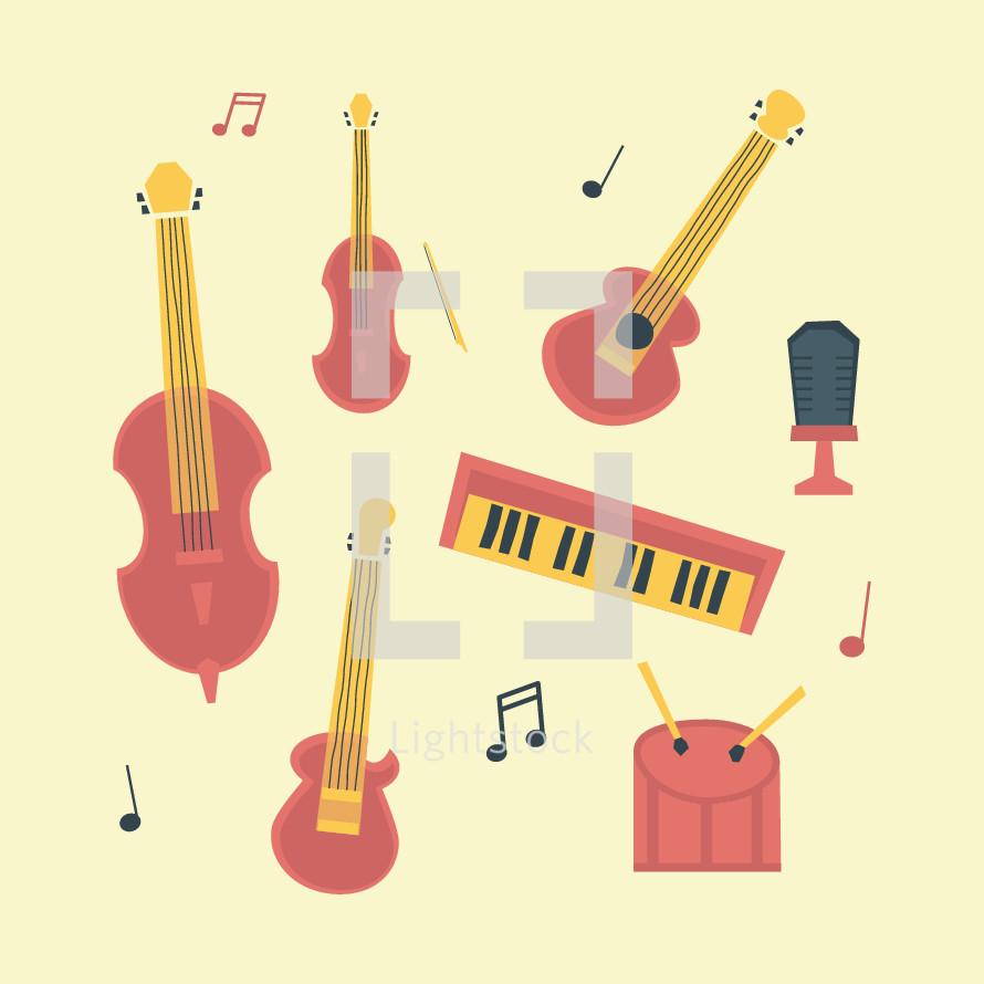 musical instrument icon set