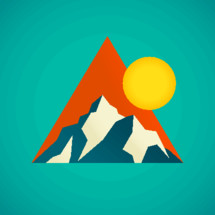 triangle, mountain, sun, icon