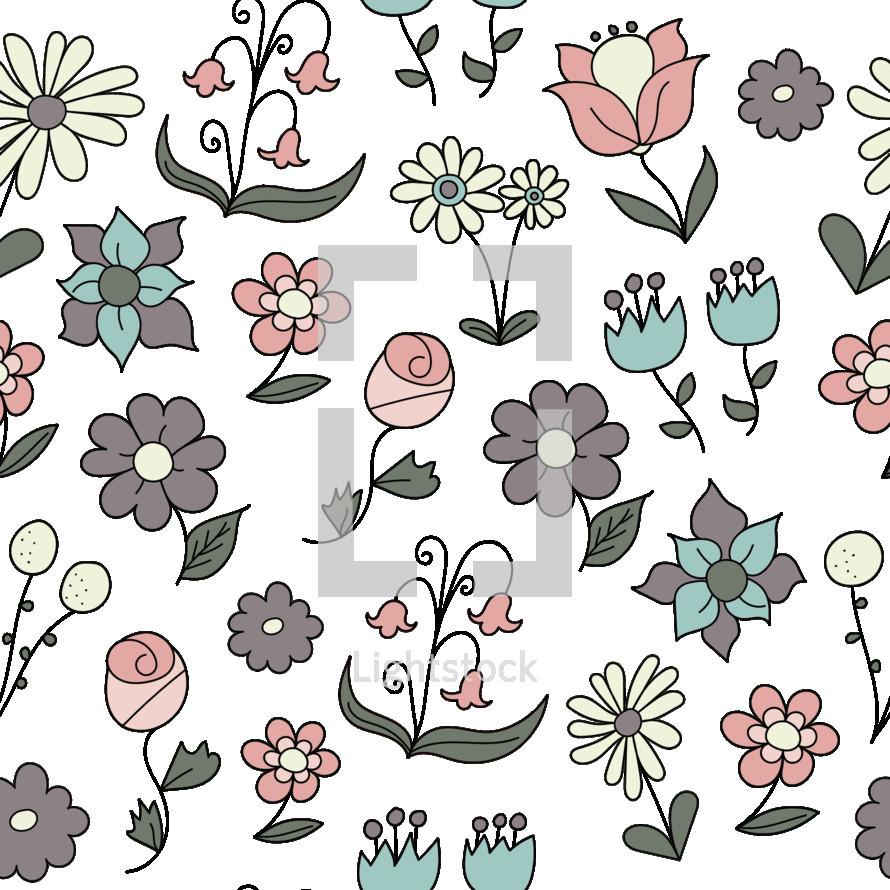 floral doodles pattern background