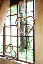 heart decor in a window