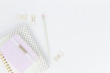 pink, and gold polka dot notebooks