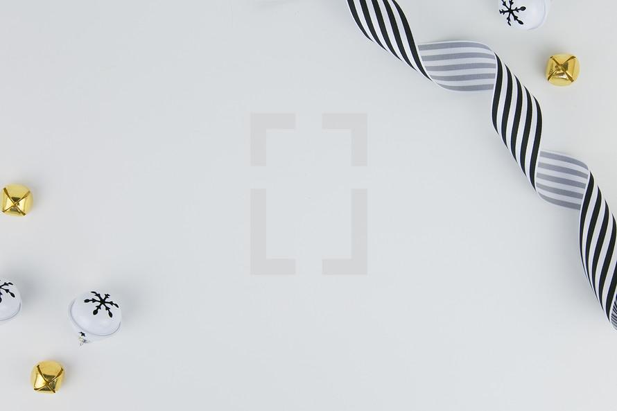 bells, ribbon, on white background