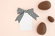 chocolate eggs and notepad
