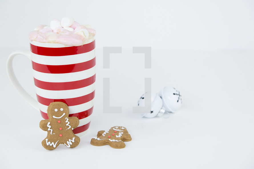 mug of hot cocoa and ginger bread cookies