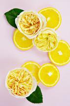 lemons and yellow roses