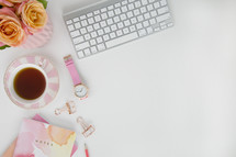 pink, flowers, peach, roses, notes, watercolor, spring, coffee, watch, croissant, iPhone, pencil, white background